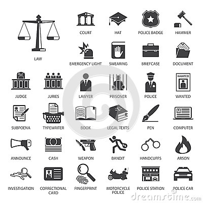 Free Law And Police Icon Set Stock Photo - 71893150