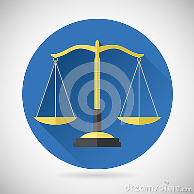 Law Balance Symbol Justice Scales Icon On Stylish Stock