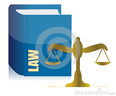 Law book and balance illustration design