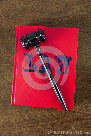 Law Concept, Book and Gavel Used by a Judge