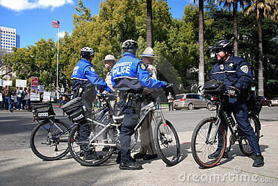 Law Enforcement at Protest Editorial Stock Image