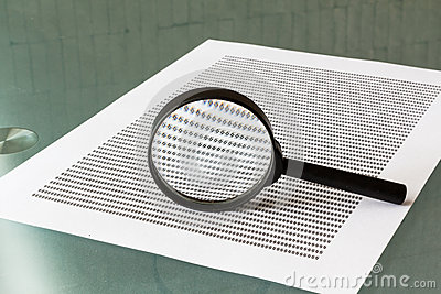 Law investigation, magnifying glass with document