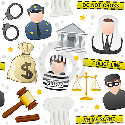 Law & Order Icons Seamless Pattern