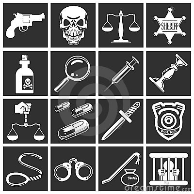Law, order, police and crime icons