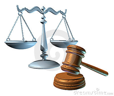 Law Scale And Judge Mallet Clipping Path Royalty Free