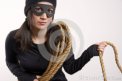 Masked Female Bandit Wears Black White Background