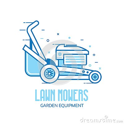 Lawn Mower Grass Cutter Logo Vector Illustration