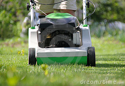 Lawn mower at work