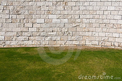 Lawn And Wall Background Royalty Free Stock Image - Image: 11309956