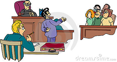 Lawyer in front of jury