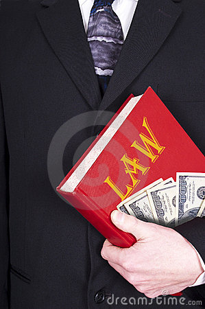 Lawyer Holding Law Book, Money, Corruption