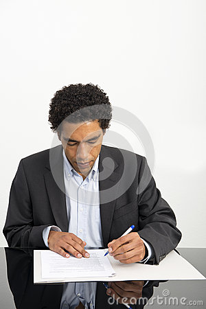 Lawyer reading a contract