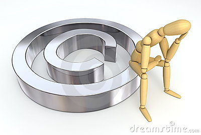 Lay Figure Sitting on Copyright Symbol