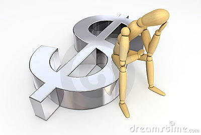 Lay Figure Sitting on Dollar Symbol