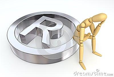 Lay Figure Sitting on Trademark Symbol