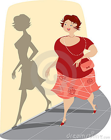 Overweight Lady and Her Shadow