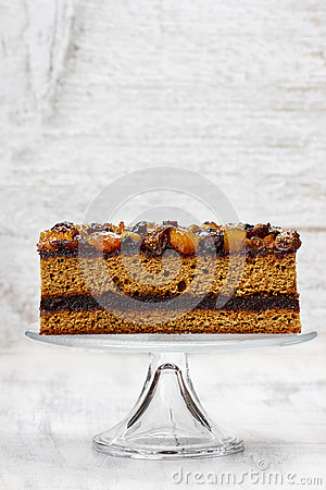 Free Layer Cake Decorated With Dried Fruits And Honey Stock Photo - 38453020