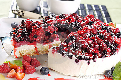 Layer cake with forrest fruits