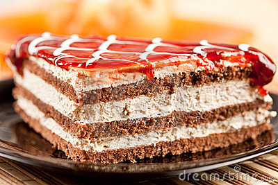 Layered dessert on a plate