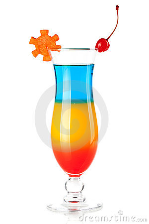 Layered tropical cocktail with decoration