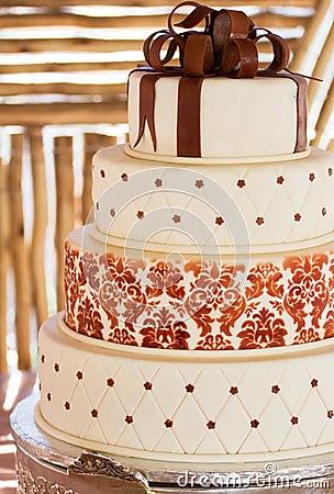Free Layered White Wedding Cake With Chocolate Detail Stock Photo - 19646060