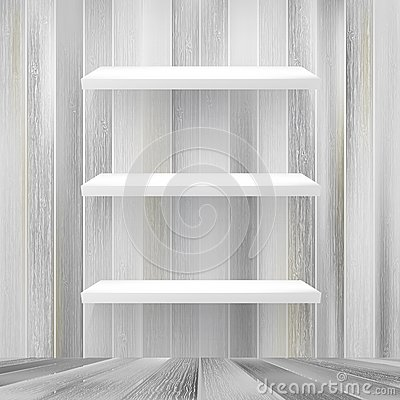 Layers Blank white wooden bookshelf. + EPS10