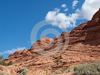 Layers on a red sandstone cliff