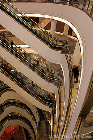 Layers of Shopping Mall Escalators