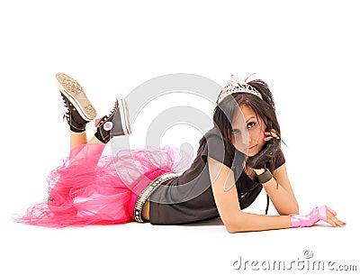 Laying emo girl