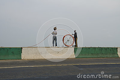 Laying fibre optic cable Editorial Image