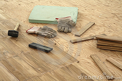 Laying parquet flooring