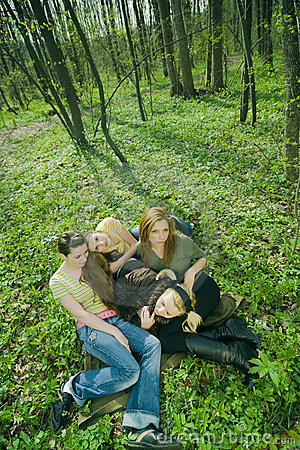Laying in the woods