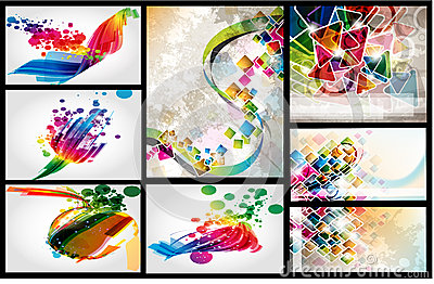 Layout colorful design set
