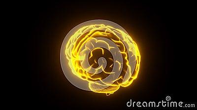 Lazo del amarillo de Brain Glowing stock de ilustración