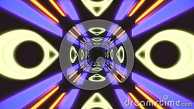 Lazo inconsútil del túnel VJ del rectángulo de HUD del vintage gráficos de neón del movimiento 4K para el LED almacen de metraje de vídeo
