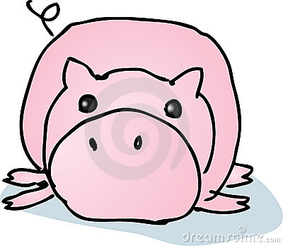 Lazy cartoon pig