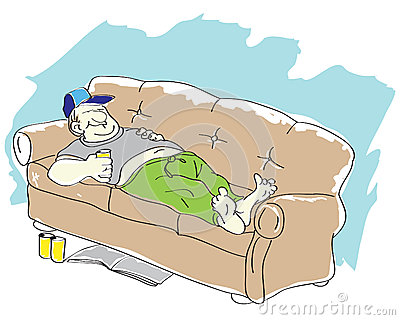 Lazy Person On Couch Cartoon Lazy Guy Stock Image - Image