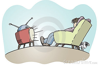 Lazy guy watching tv