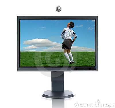 Free LCD Monitor And Soccer Player Stock Photo - 2756890