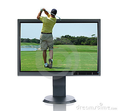 LCD Monitor and Golfer