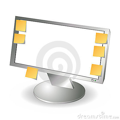 LCD monitor and post it notes