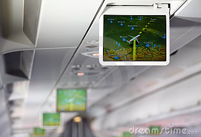 Lcd monitor showing aircraft traffic diagram