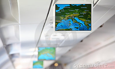 Lcd monitor showing a map of Europe