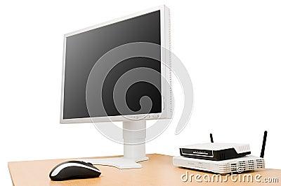 LCD screen on desk