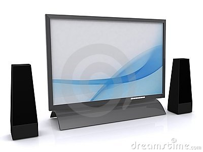 LCD tv and speakers