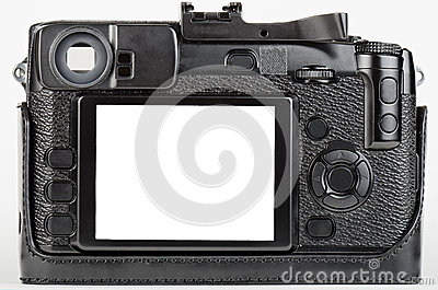 LCD view of well used, retro style digital camera