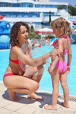 Lächelnde Frauenschlupfstellen mit Sahne für Sonnenbrandmädchen