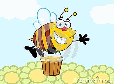 Bienen fliegen mit einem honig eimer und wellenartig for Fliegen in blumen