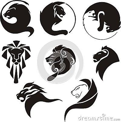 Leões pretos estilizados