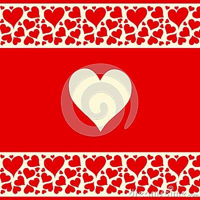 Le beau fond rouge et crémeux avec amour entendent
